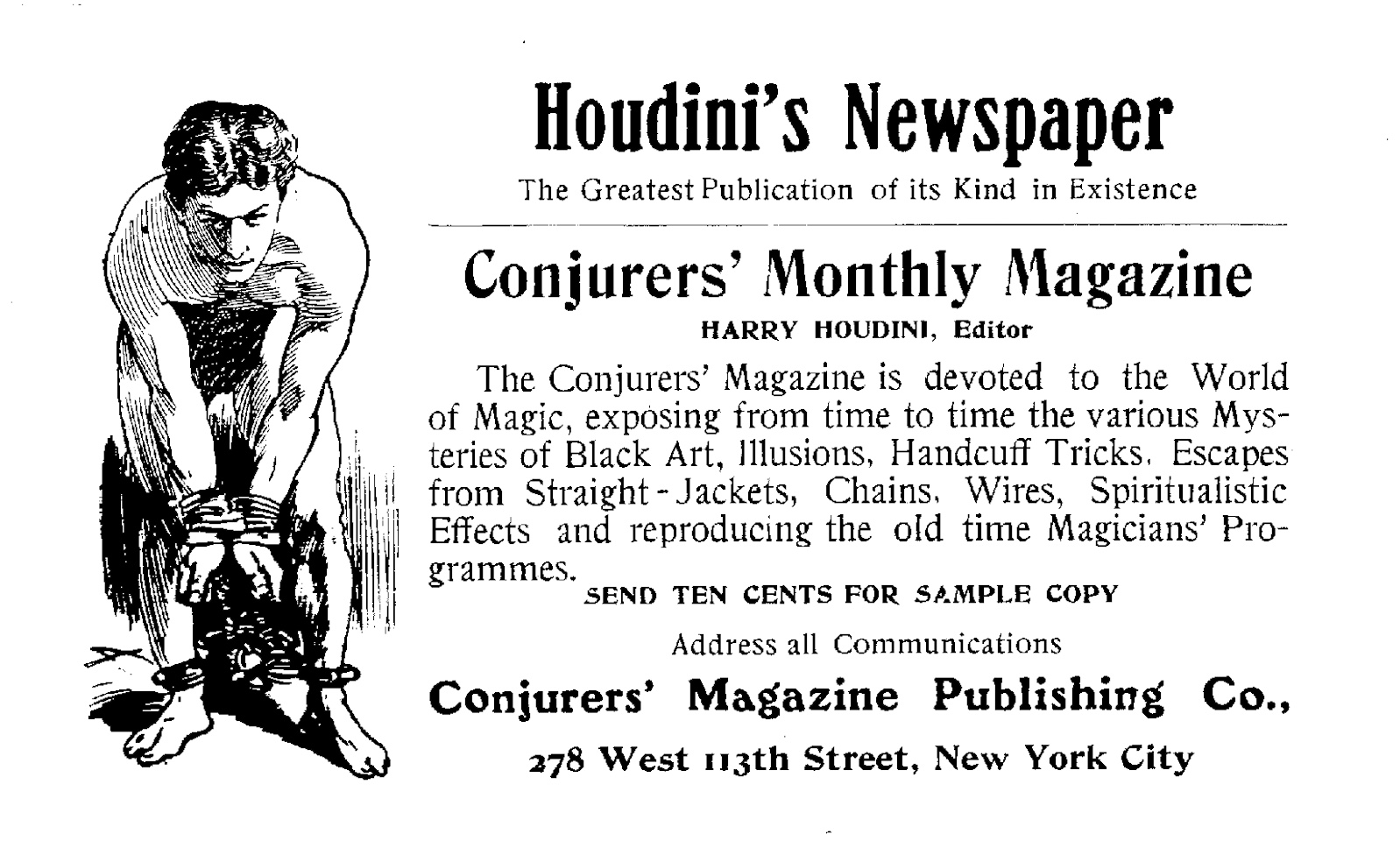 Advertisement for Houdini's Conjurer's Monthly Magazine