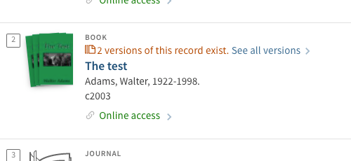 Screen capture of multiple records on library record