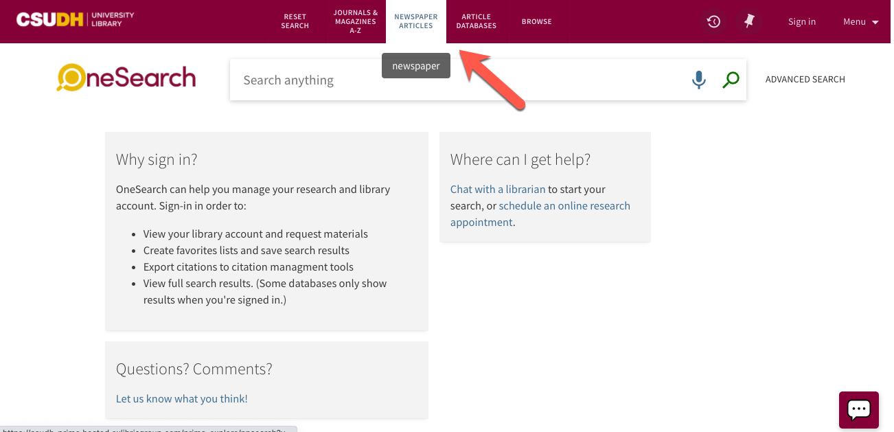 Screencap of the Library Catalog (OneSearch) with an arrow pointed to the newspaper link at the top