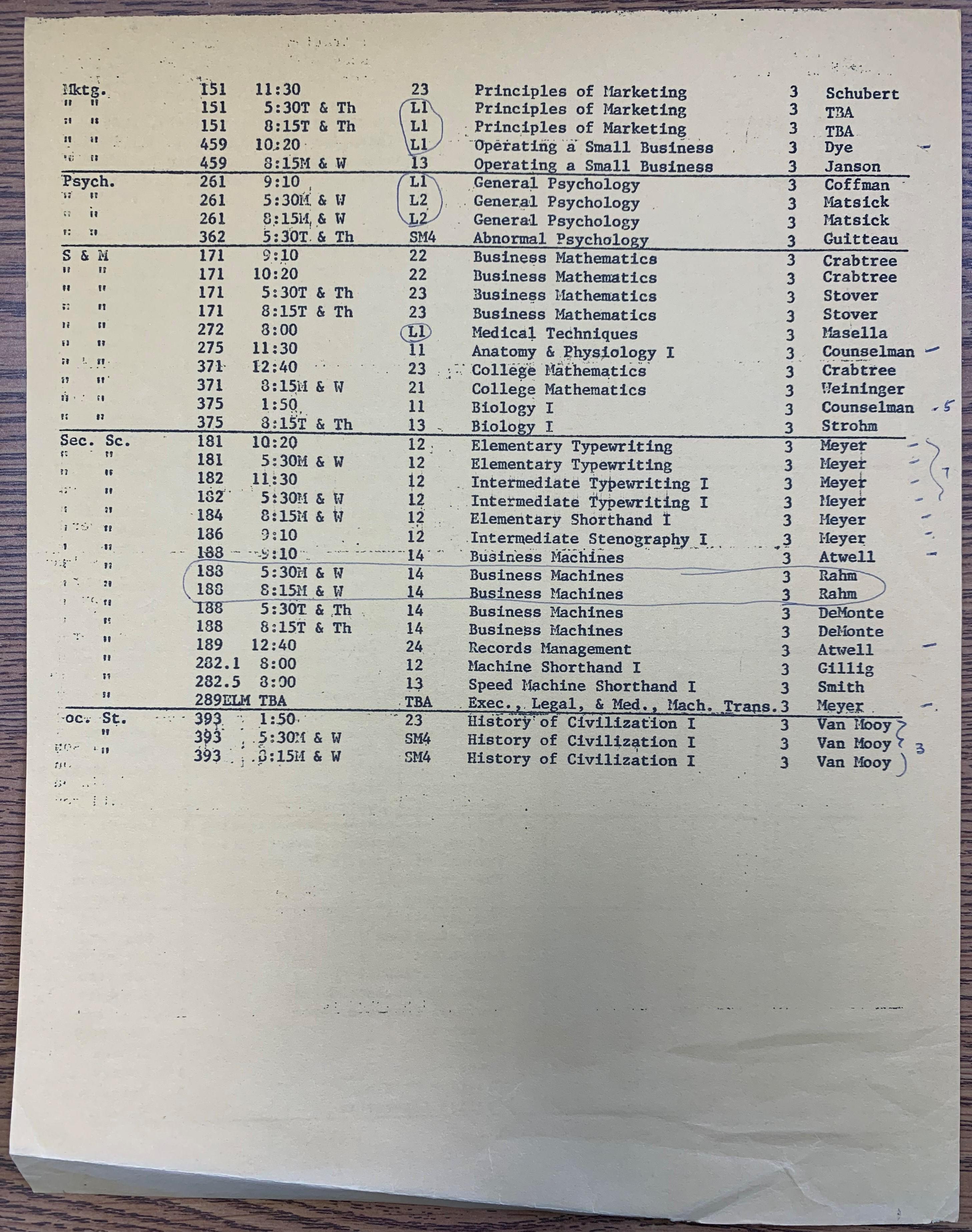 class schedule pg 2