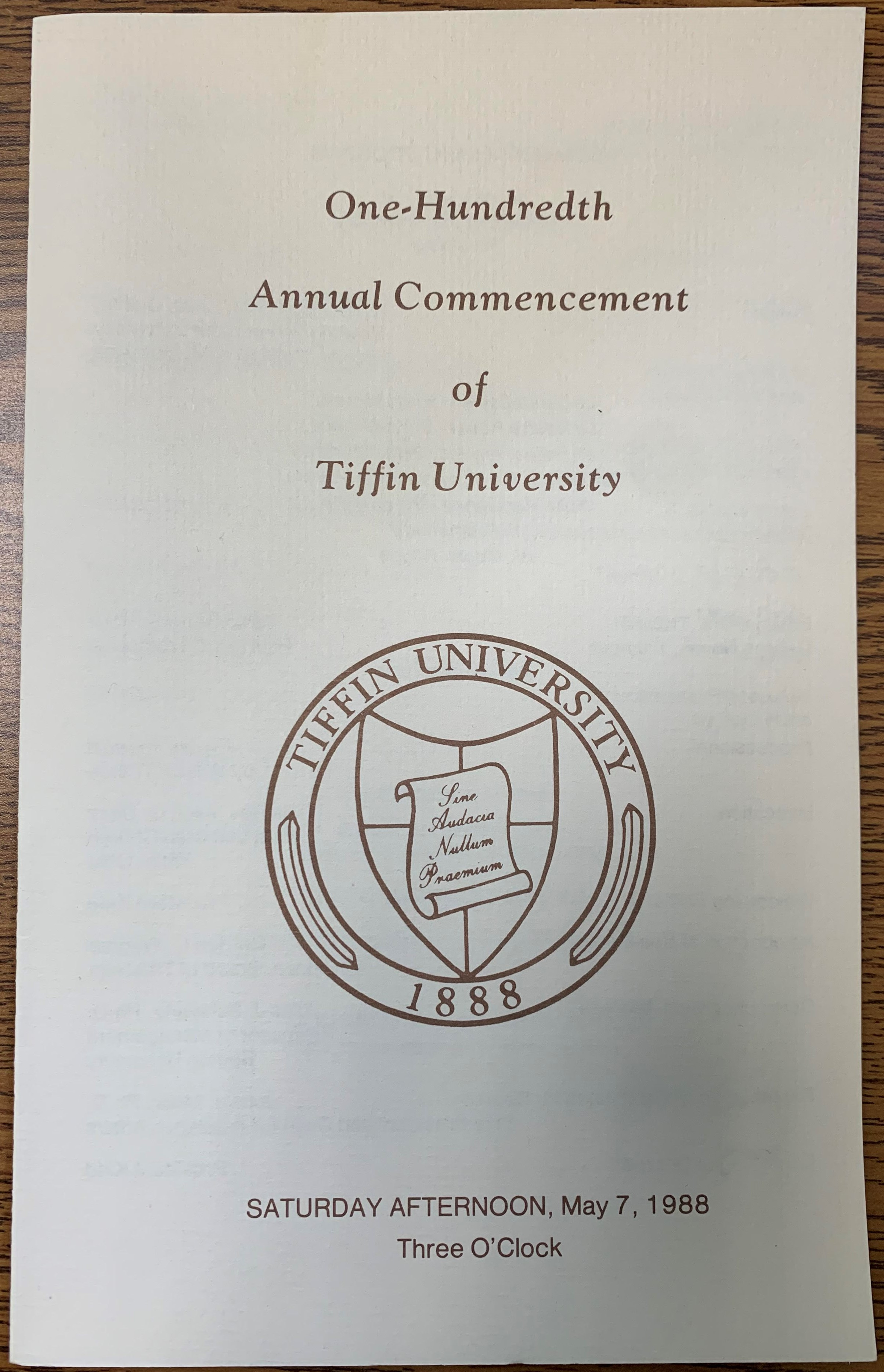 commencement program 1988 cover