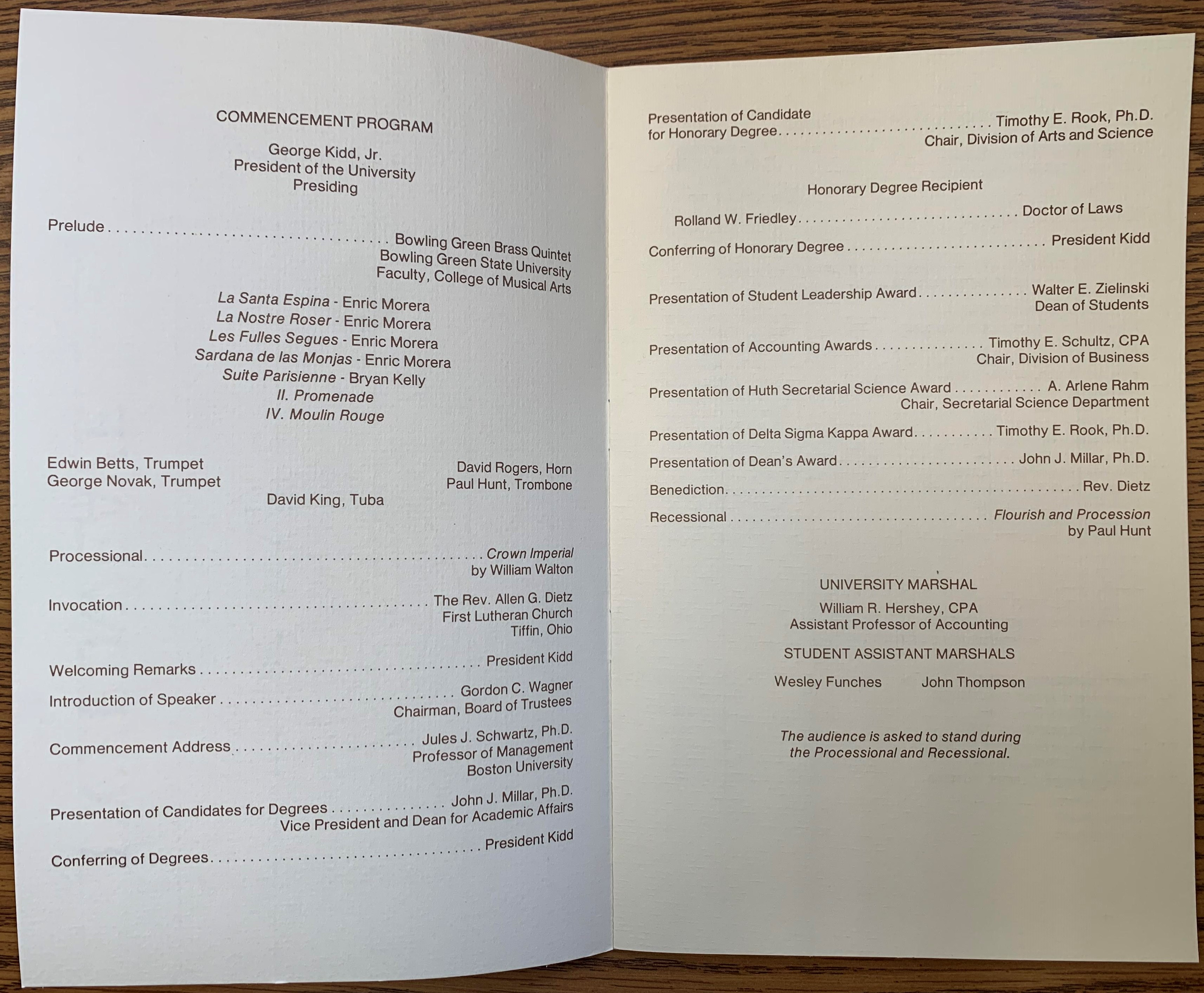 commencement program schedule 1988