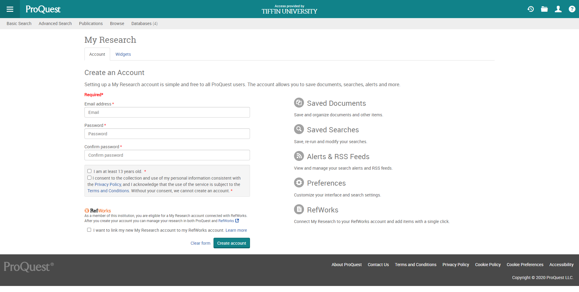 create a new my research account page