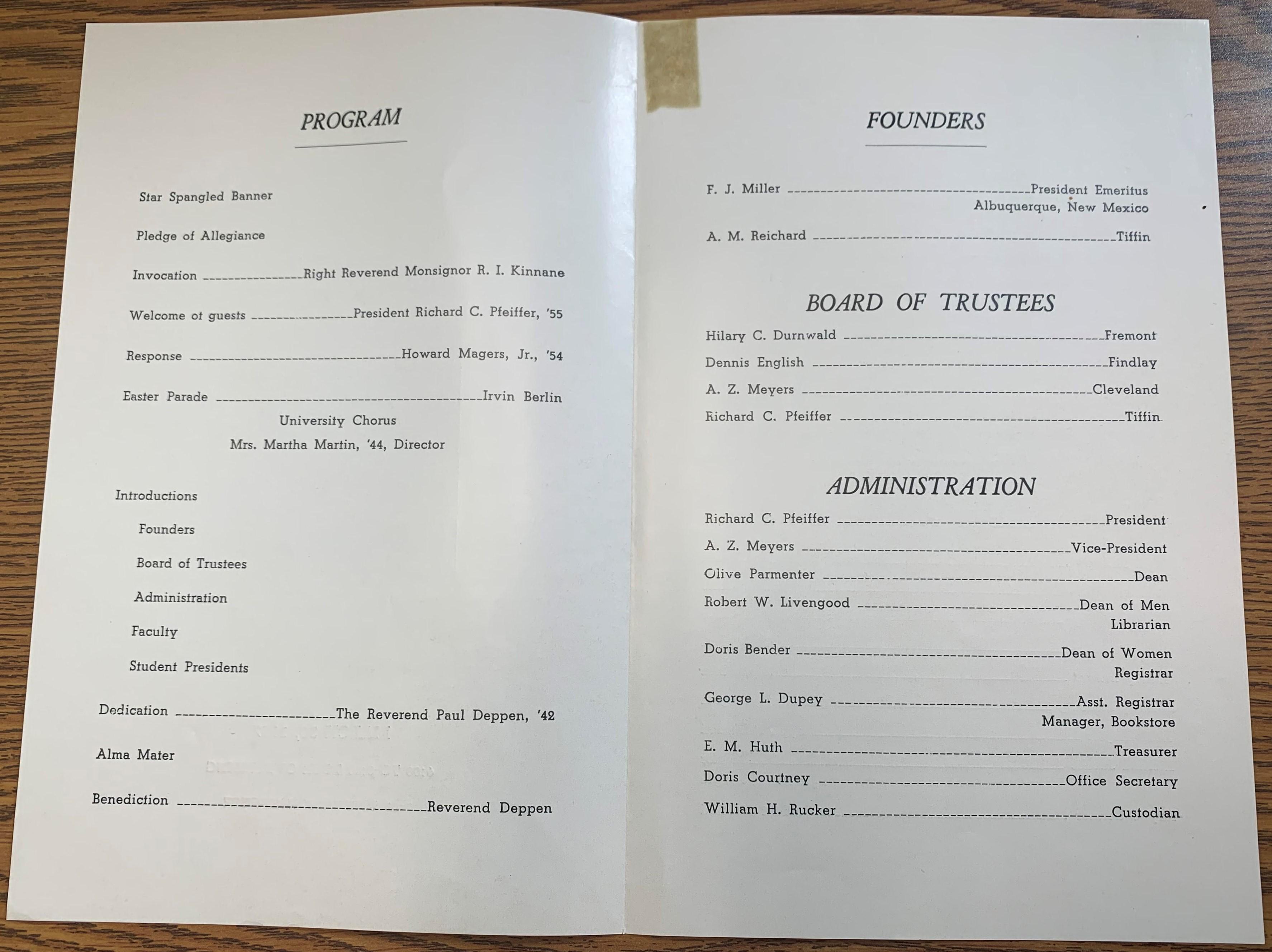 dedication program contents