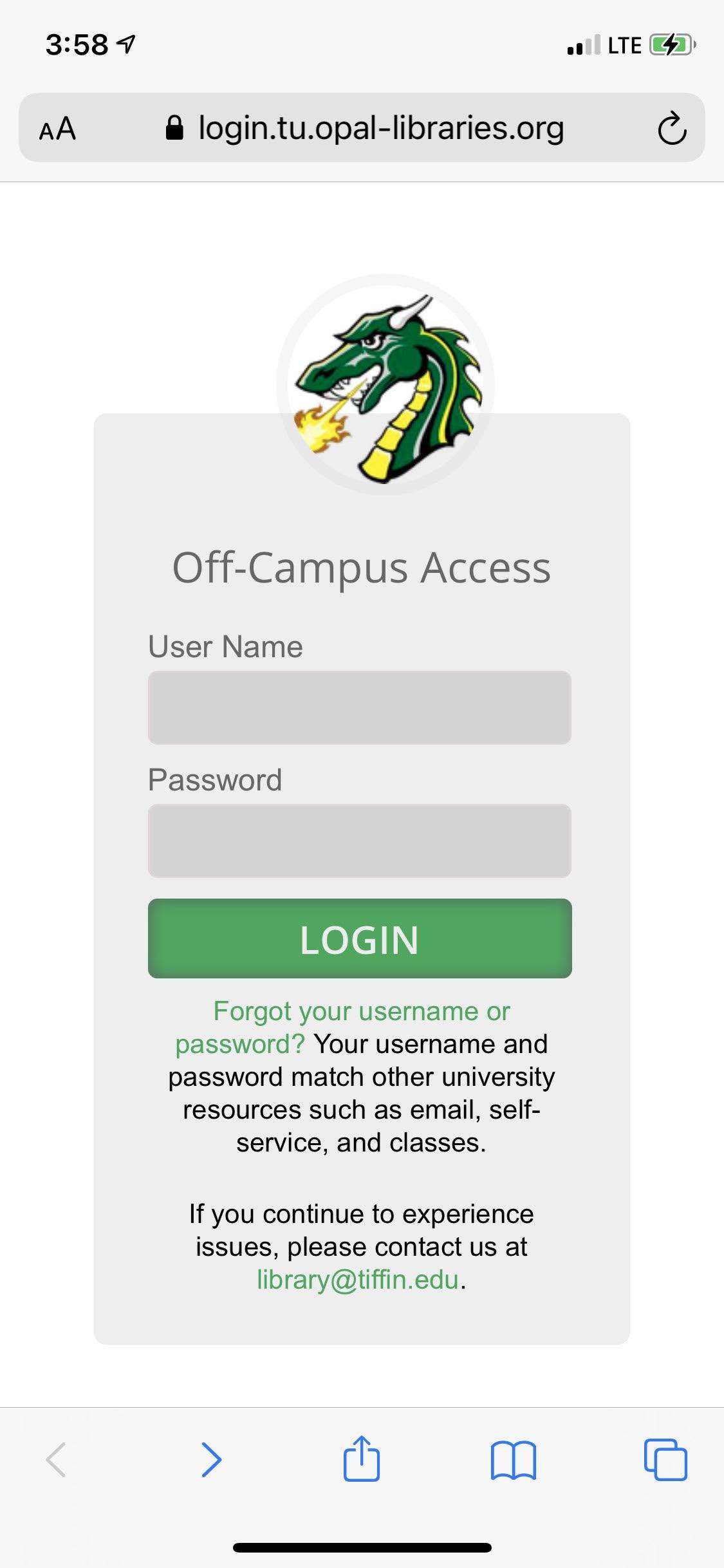 off campus login screen