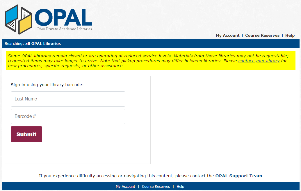 opal log in page