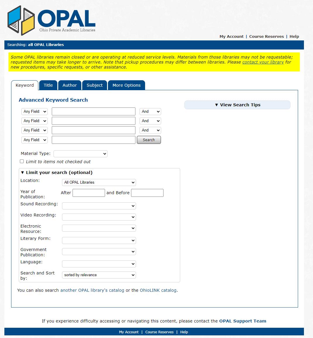 opal search page
