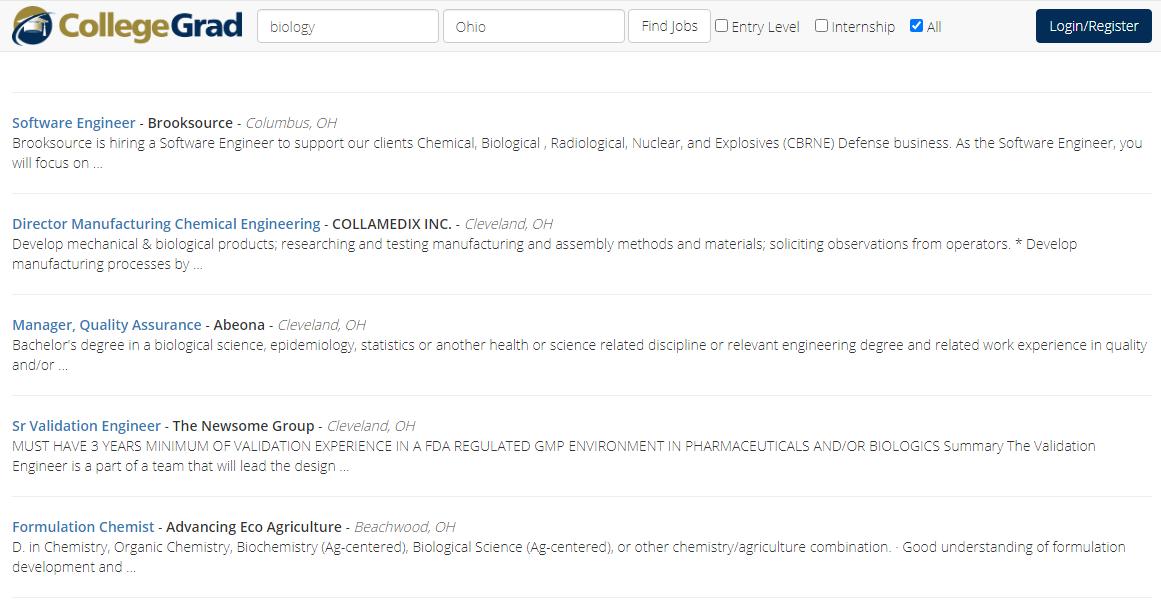 search results page college grad hunter