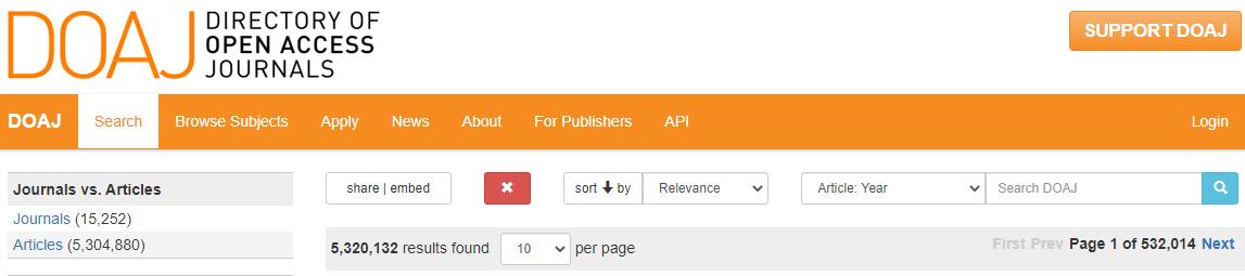 doaj adv search page