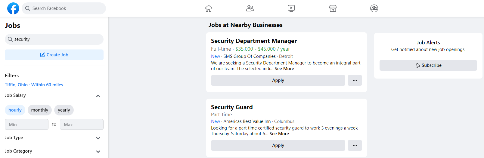 facebook jobs search page