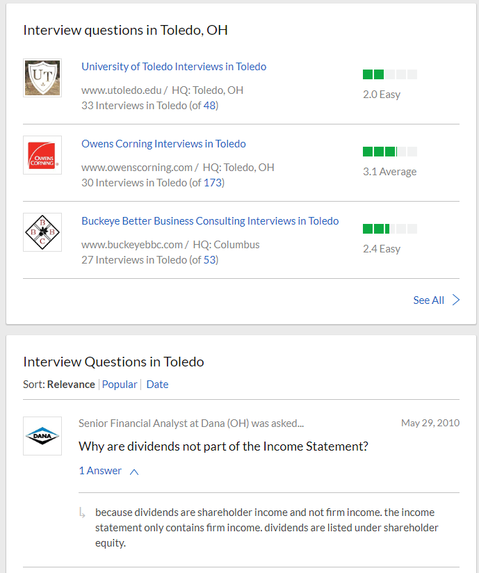 interview search results page