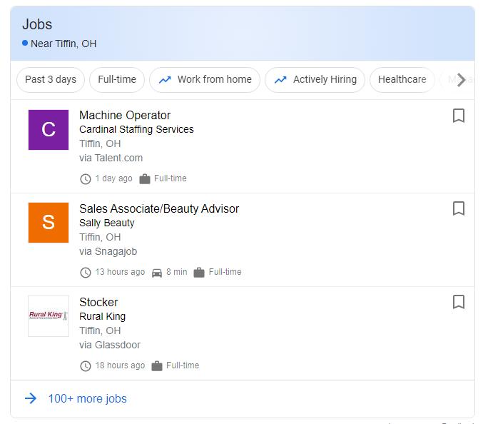 google jobs bar