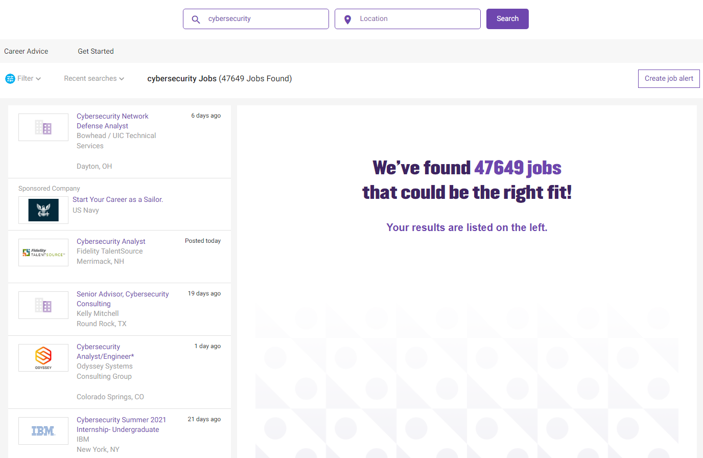 jobs search results page