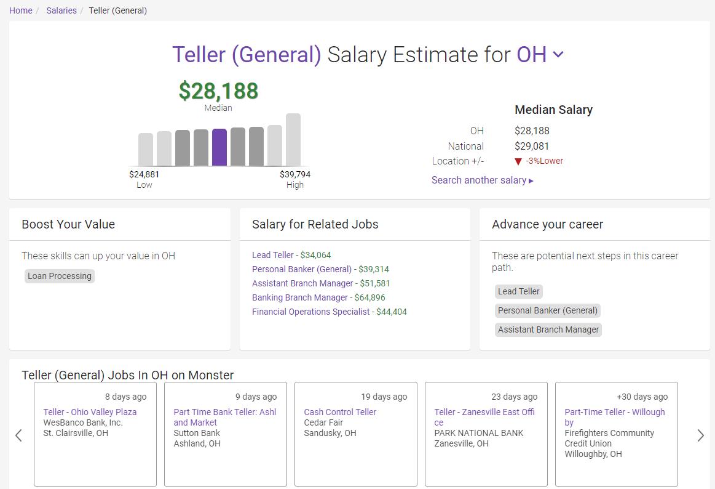salary estimate page teller