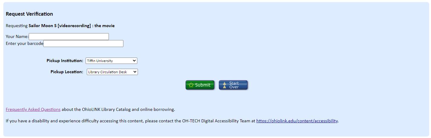 ohiolink request verification screen