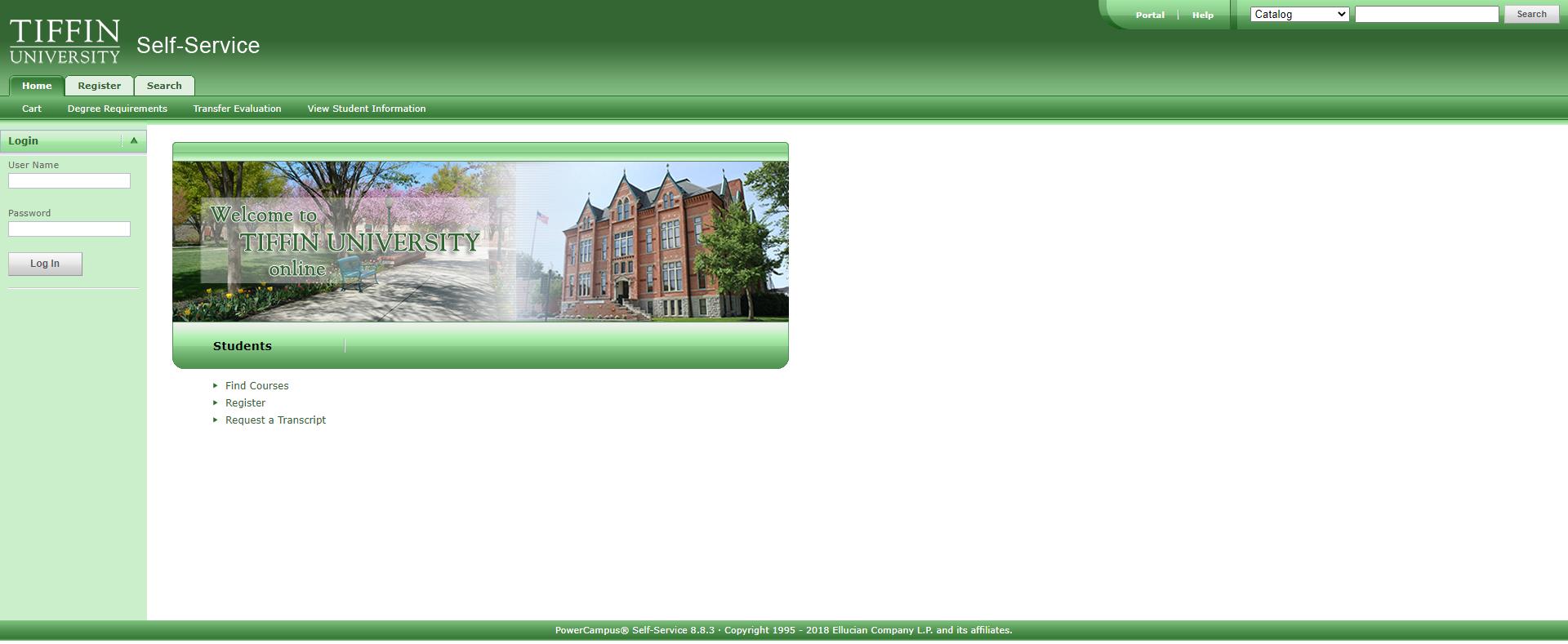self service home page