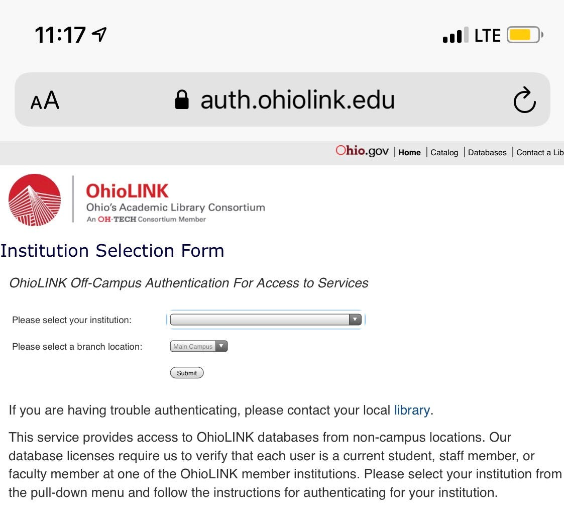 institution selection form