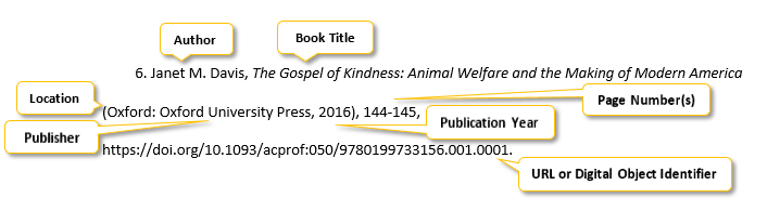 "6 period Janet M period Davis comma The Gospel of Kindness colon Animal Welfare and the Making of Modern America parenthesis Oxford colon Oxford University Press comma 2016 parenthesis comma 144-145 comma <a href= ""https://doi.org/10.1093/acprof:050/9780199733156.001.0001"" </a> period"