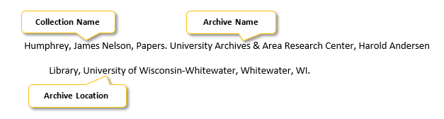 Humphrey comma James Nelson comma Papers period University Archives ampersand Area Research Center comma Harold Andersen Library comma University of Wisconsin hyphen Whitewater comma Whitewater comma WI period
