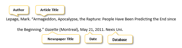 Lepage comma Mark period quotation mark Armageddon comma Apocalypse comma the Rapture colon People Have Been Predicting the End since the Beginning period quotation mark Gazette parenthesis Montreal parenthesis comma May 21 comma 2011 period Nexis Uni period