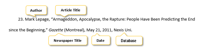 23 period Mark Lepage comma quotation mark Armageddon comma Apocalypse comma the Rapture colon People Have Been Predicting the End since the Beginning comma quotation mark  Gazette  parenthesis Montreal parenthesis comma May 21 comma 2011 comma Nexis Uni period
