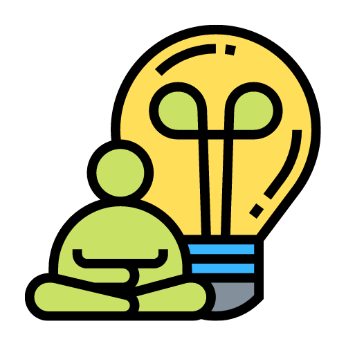 image of sitting person next to lightbulb