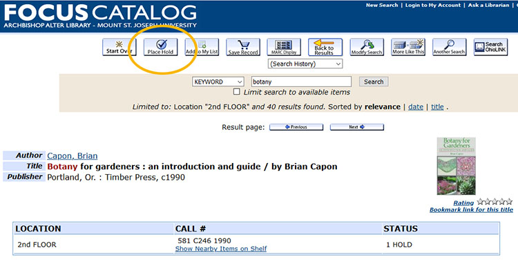 "Example of where to find ""place a hold"" button in Library catalog."