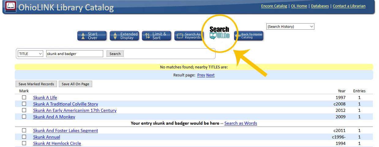 Shows where to locate the Search Ohio button