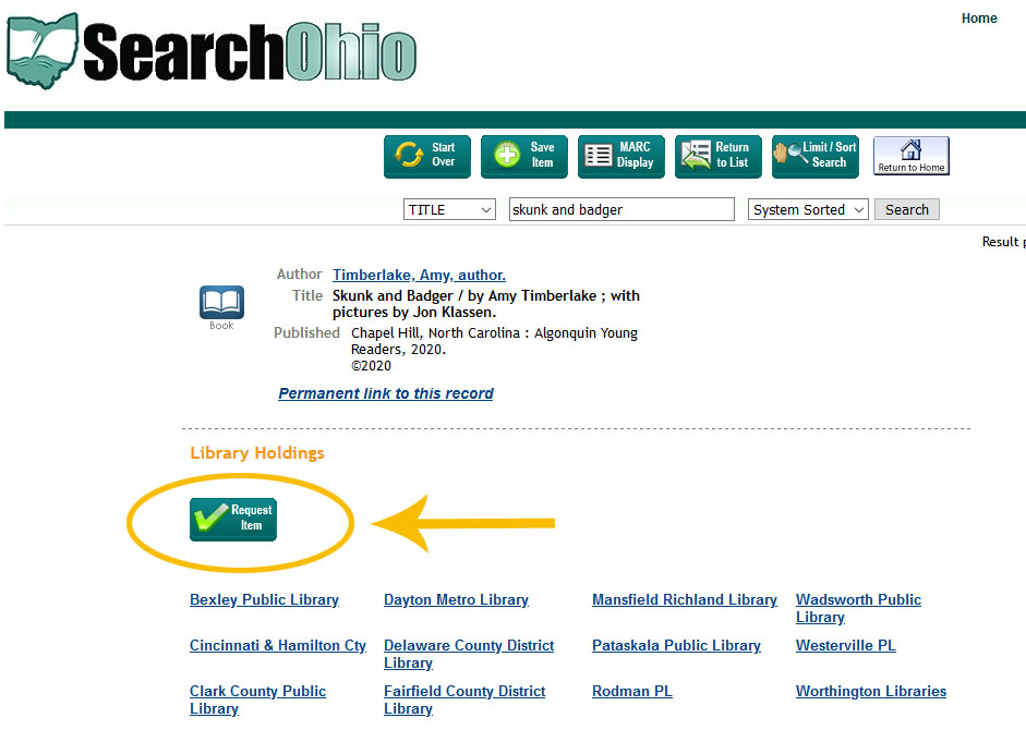 Example of Request button in Search Ohio