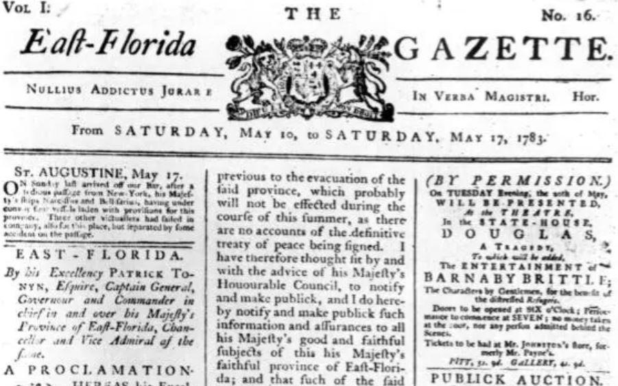 First Floridian Newspaper