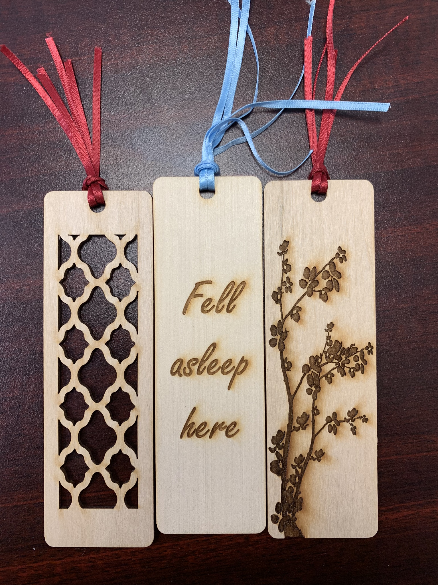 Photo of several laser engraved bookmarks
