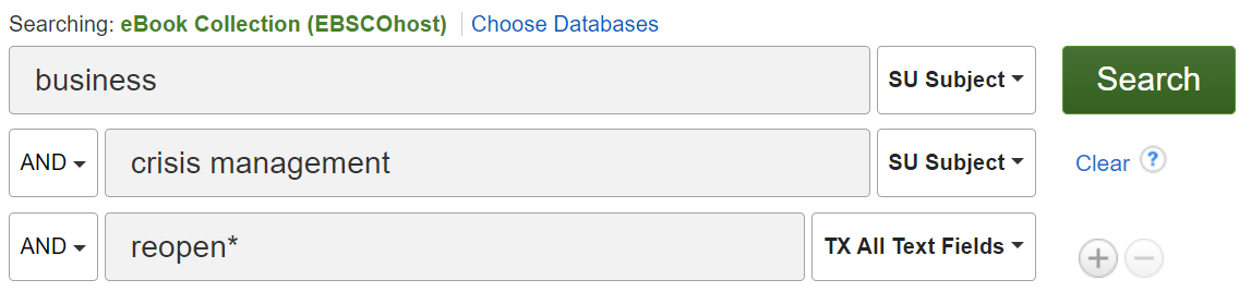 eBook Collection database search example