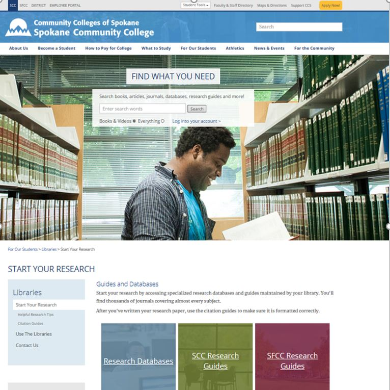 SCC Library website