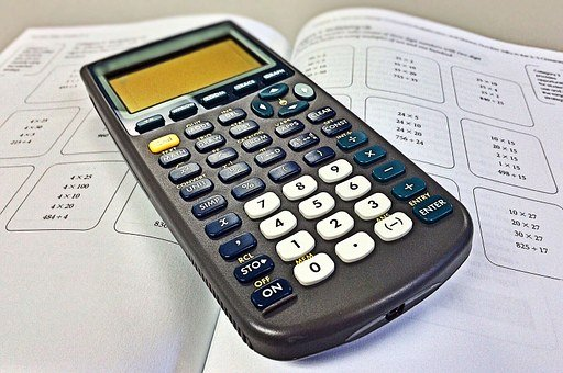 Graphing Calculator on top of math workbook