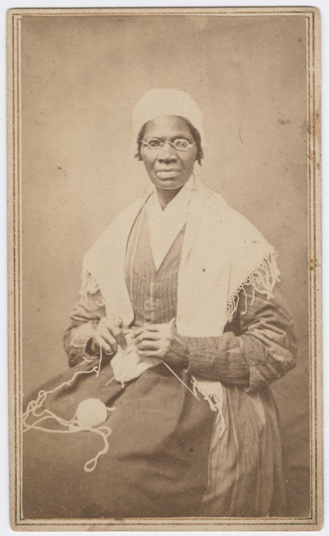 Portrait of abolitionist Sojourner Truth, sitting with yarn and knitting needles. Date Created, 1864