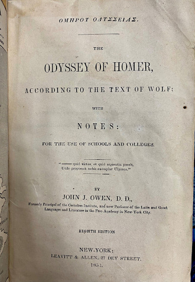 Title page for The Odyssey of Homer