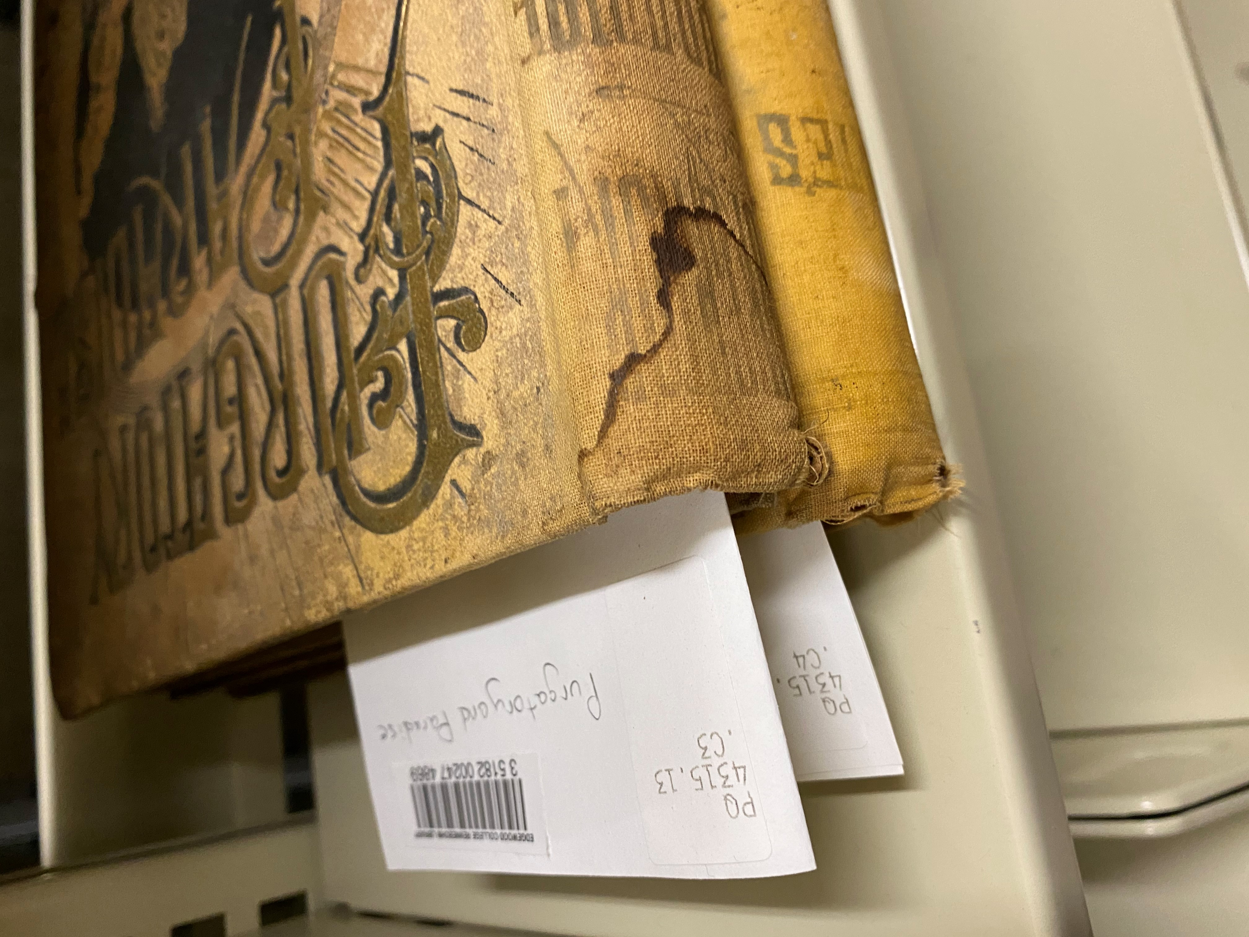 Barcodes and call numbers for rare books stored in the archives