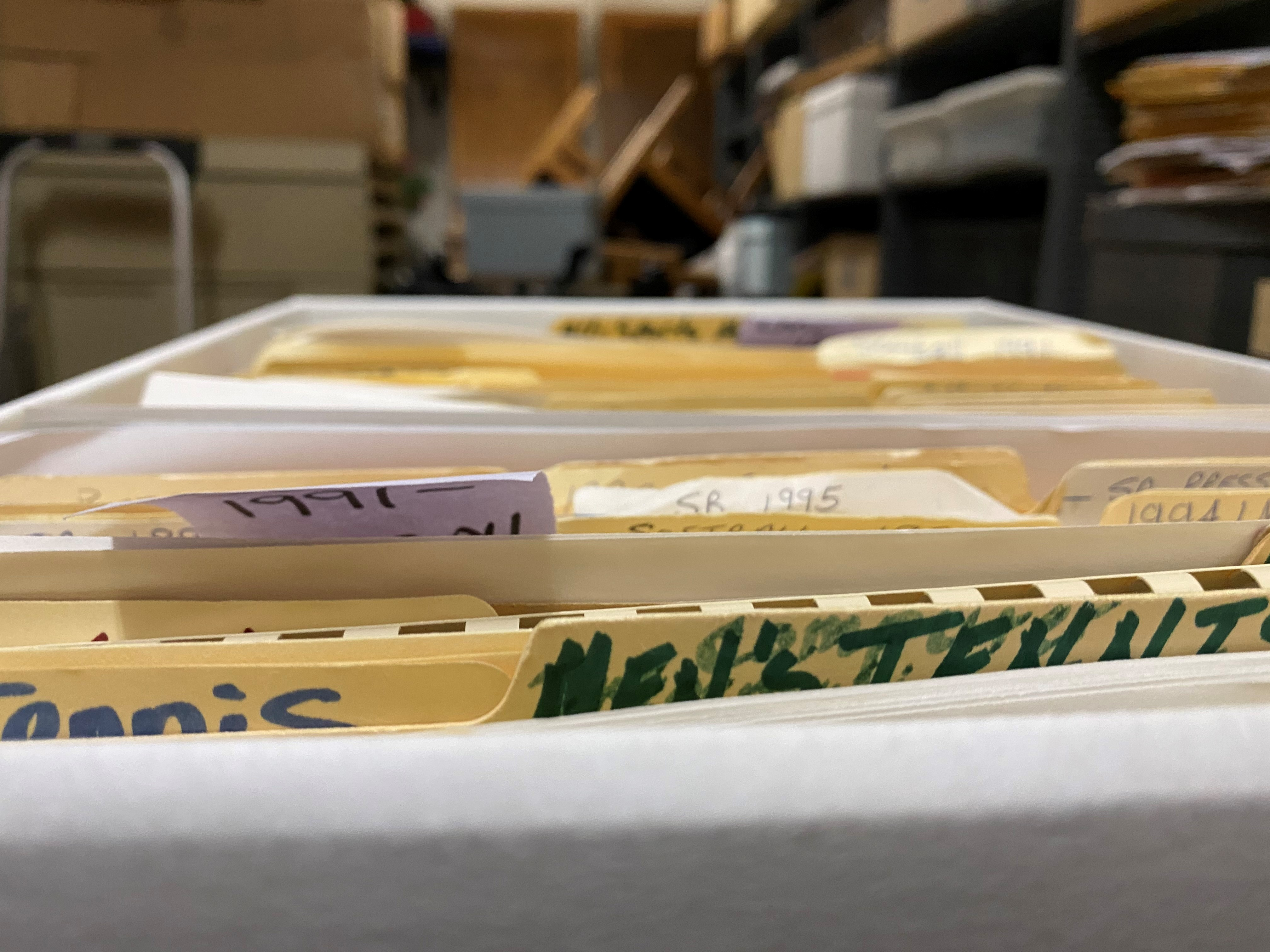 File boxes of old sports records