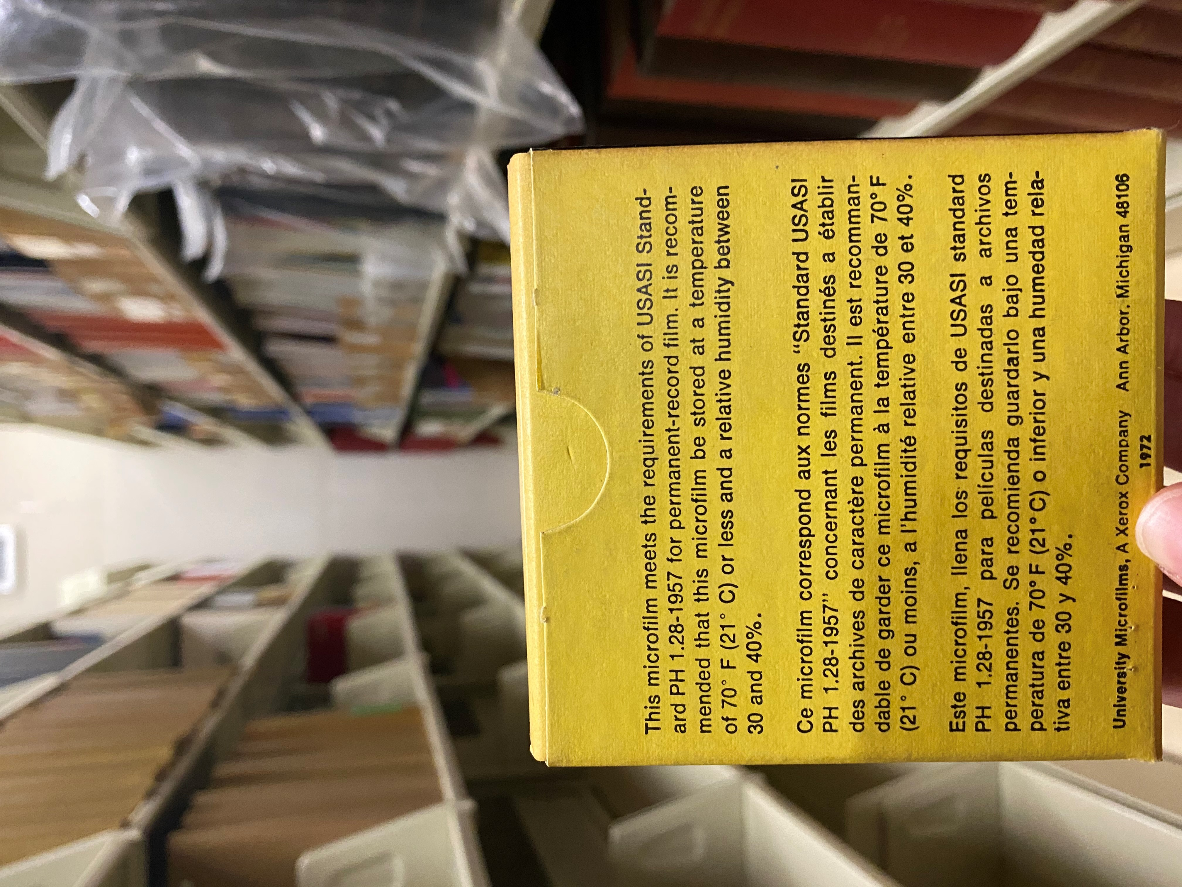 the back of a box of microfilm