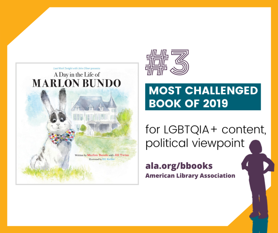 """#3 A Day in the Life of Marlon Bundo by Jill Twiss, illustrated by EG Keller Challenged and vandalized for LGBTQIA+ content and political viewpoints, for concerns that it is """"designed to pollute the morals of its readers,"""" and for not including a content warning."""