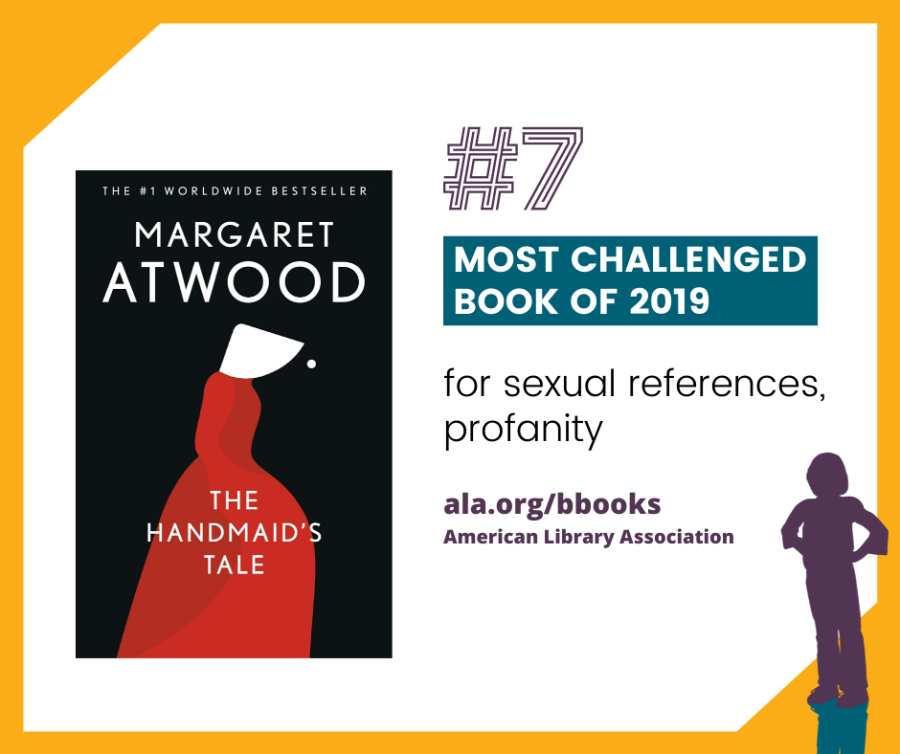 """#7 The Handmaid's Tale by Margaret Atwood Banned and challenged for profanity and for """"vulgarity and sexual overtones."""""""