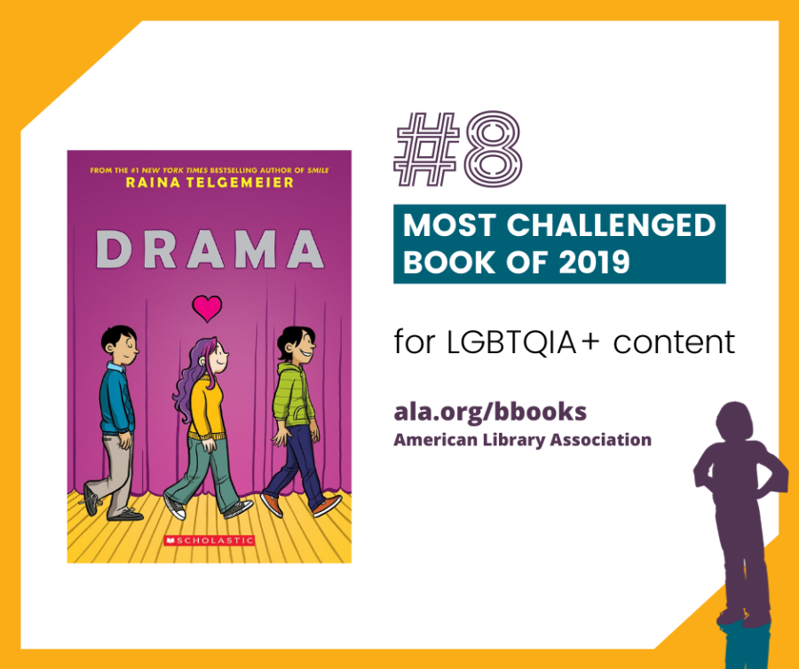 """#8 Drama written and illustrated by Raina Telgemeier. Challenged for LGBTQIA+ content and for concerns that it goes against """"family values/morals."""""""