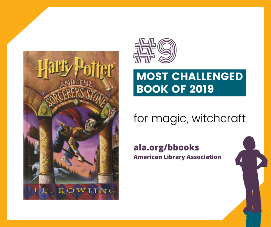 """#9 Harry Potter (series) by J. K. Rowling Banned and forbidden from discussion for referring to magic and witchcraft, for containing actual curses and spells, and for characters that use """"nefarious means"""" to attain goals."""