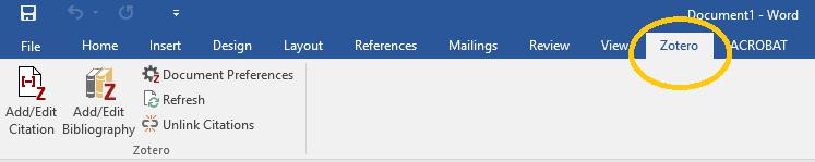 Screenshot of Zotero Microsoft Word plugin