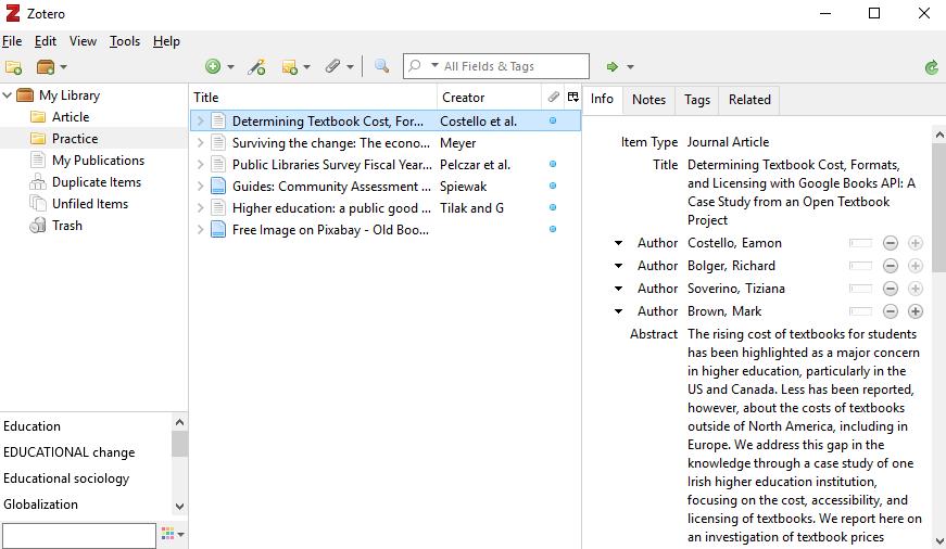 Screenshot of Zotero desktop app