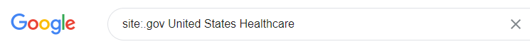 "Screenshot of a Google search bar with the words ""site:.edu United States Healthcare."""