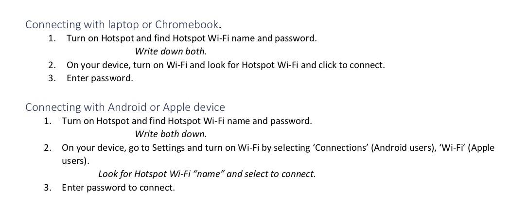 T-Mobile hotspot instructions