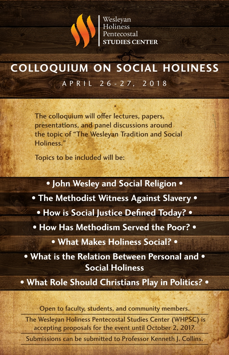 Poster Advertising Colloquium on Social Holiness April 26-27 2018