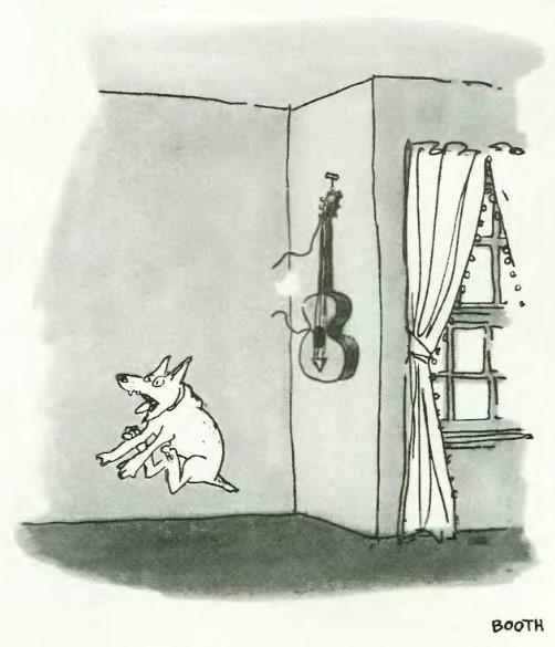 George Booth dog guitar broken string