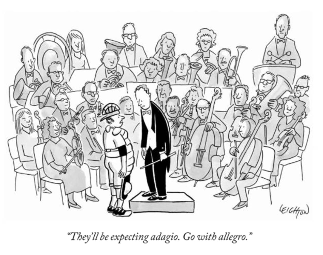 They'll be expecting adagio. Go with allegro.